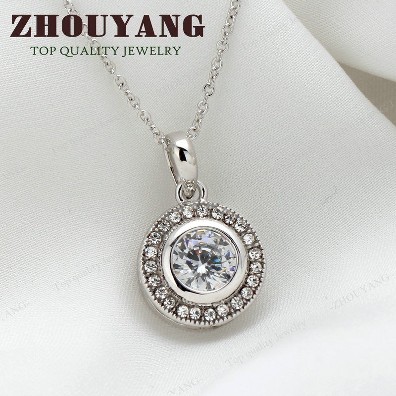 Top Quality Three Colour CZ Round Silver Color Pendant Necklace Made with Austrian Crystals Wholesale ZYN375