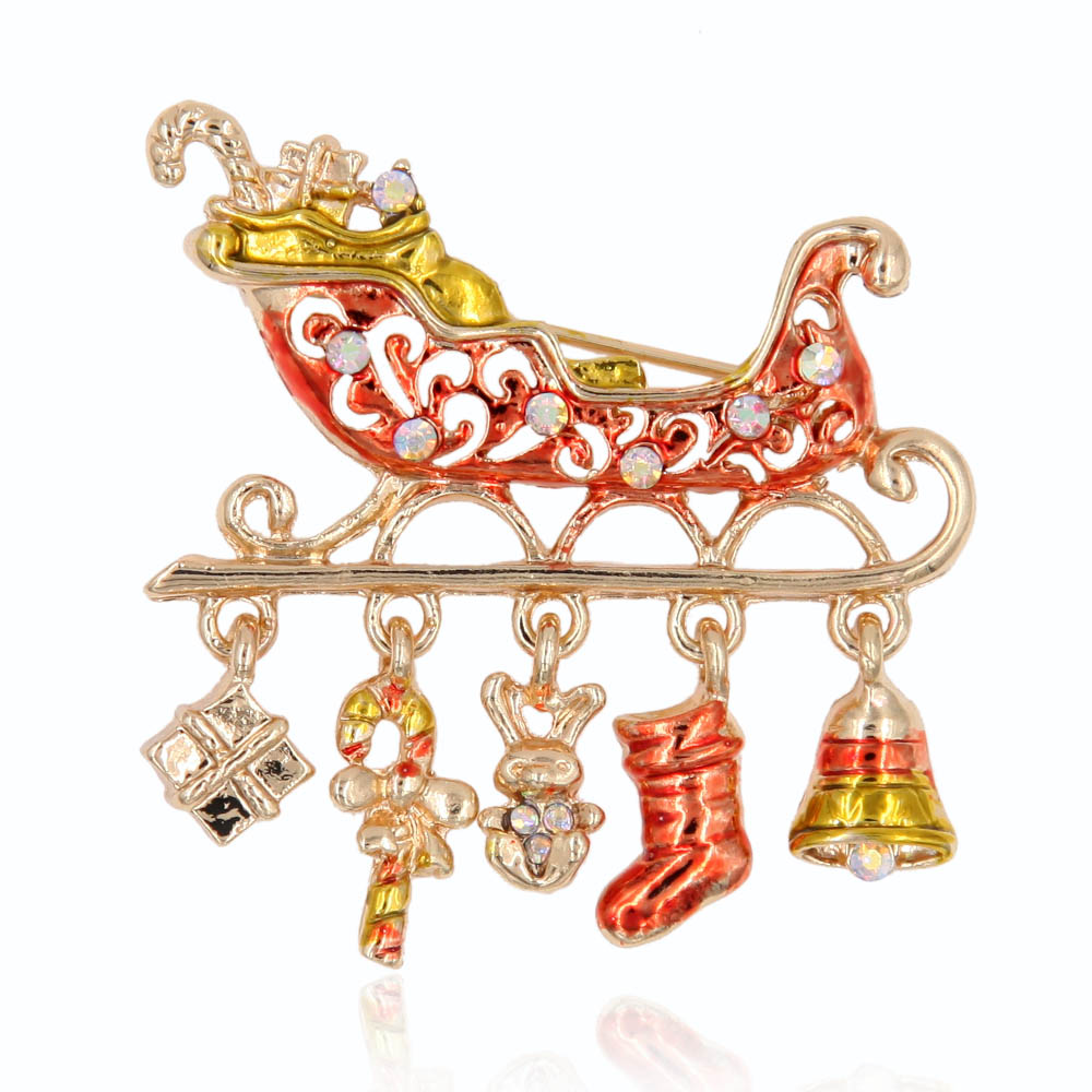 Noel Baba Sleigh Broş Pin Metal Stocking Baston Jingle Bells Kristal Rhinestone Moda Takı Aksesuar