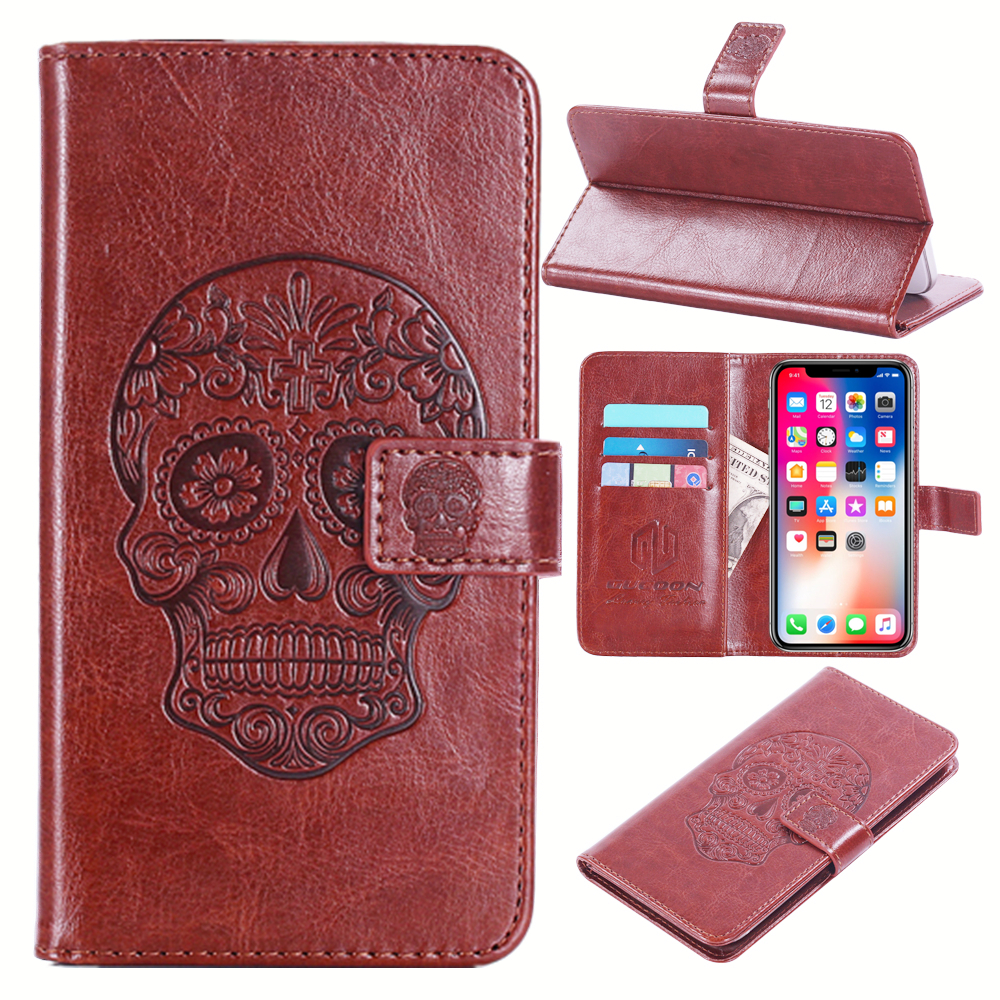 GUCOON Embossed Skull Wolf Case for Wiko Fever Special Edition 5.2inch Vintage Protective Phone Shell Fashion Cool Cover Bag
