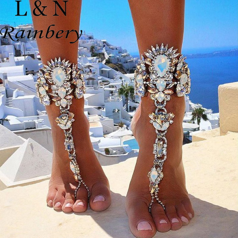 Rainbery Romantic Fashion Foot Chain Bohemian Charms Crystal Rhinestone Flower Anklet Summer Beach Bracelets For Women Jewelry