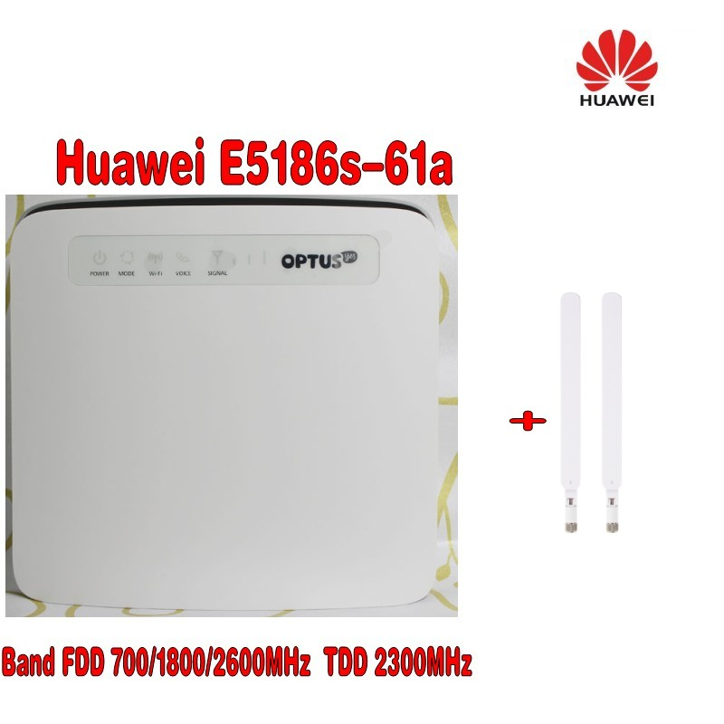 Huawei E5186s-61a 4G LTE CPE Router 300 MBPS, Wi-Fi 2.4 & 5 Ghz-Unlocked + 2 adet 4G Anten