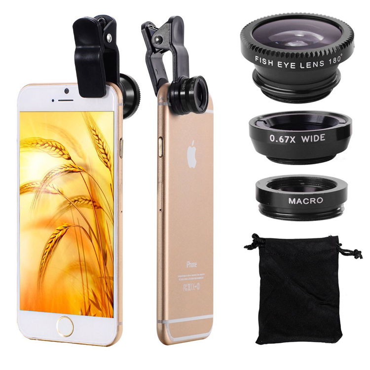 Universal Clip 3in1 Lenses FishEye Wide Angle Macro Mobile Lens Fish Eye lenses Microscope For iPhone 5 6 6s 7 8 Plus Smartphone