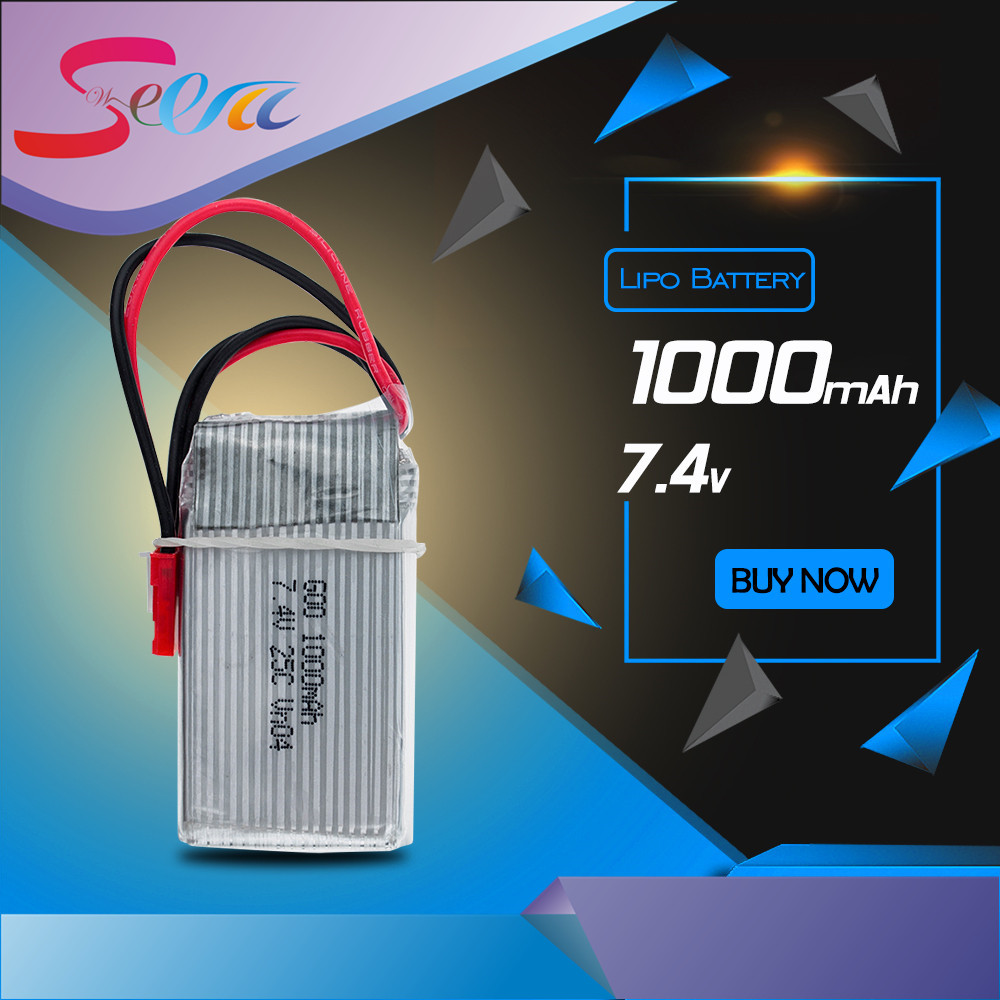 1pc 7.4V 1000Mah Li-po Battery For WLToys V262 V333 V353 V912 V915 FT007 DEVO4 MJX X600 RC Helicopter hot sale