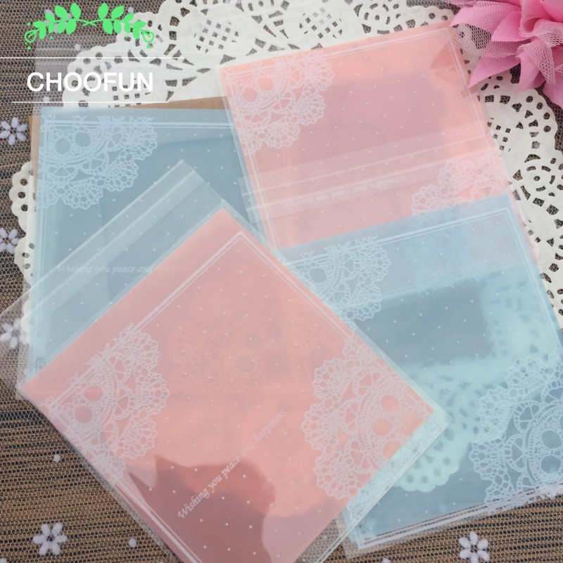 100pcs/lot Pink And Blue Color Lace Polka Dot Transparent Wedding Candy and Cookie Decoration Bag OPP Gift Packaging Bag BZ037