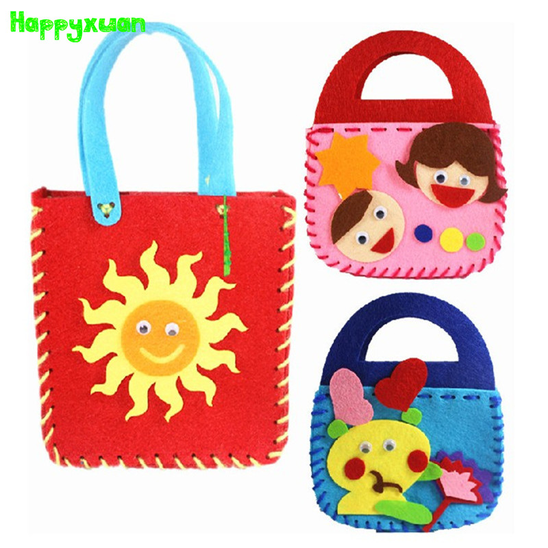 Happyxuan 5pcs/lot Make Handmade Handbags DIY Non-woven Felt Fabric Cloth Kit kids Girl Art & Crafts Toys for Children