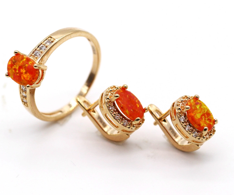 GZJY Exquisite Jewelry Set Oval Orange Fire Opal Gold Color Zircon Ring Earrings Set For Women Wedding Anniversary Jewelry