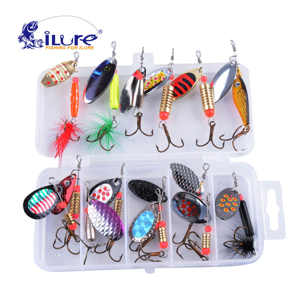 iLure 15pcs/lot Metal Fishing Lure Mixed color / Size Metal Spoon Sequins Bait hard bait Spinner Bait with Hook for Carp Fishing
