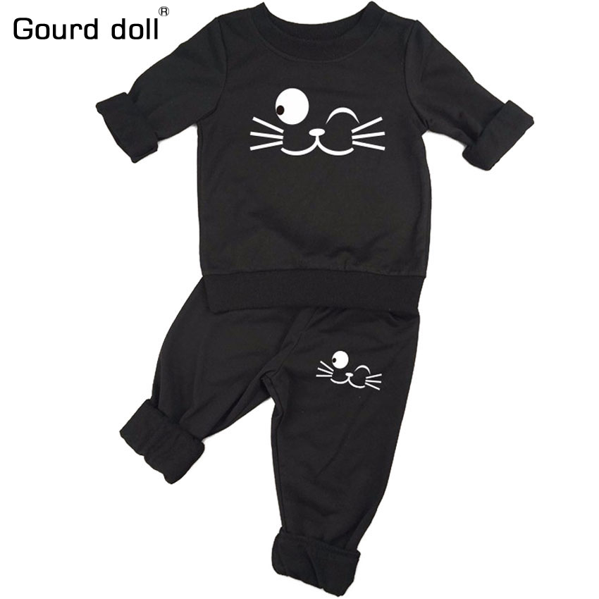 Gourd doll 2PCS Newborn Spring Cotton Stripes Baby Boys Girls clothes Sets O-Neck Clothing Sets Boy Long sleeve Romper +Pants