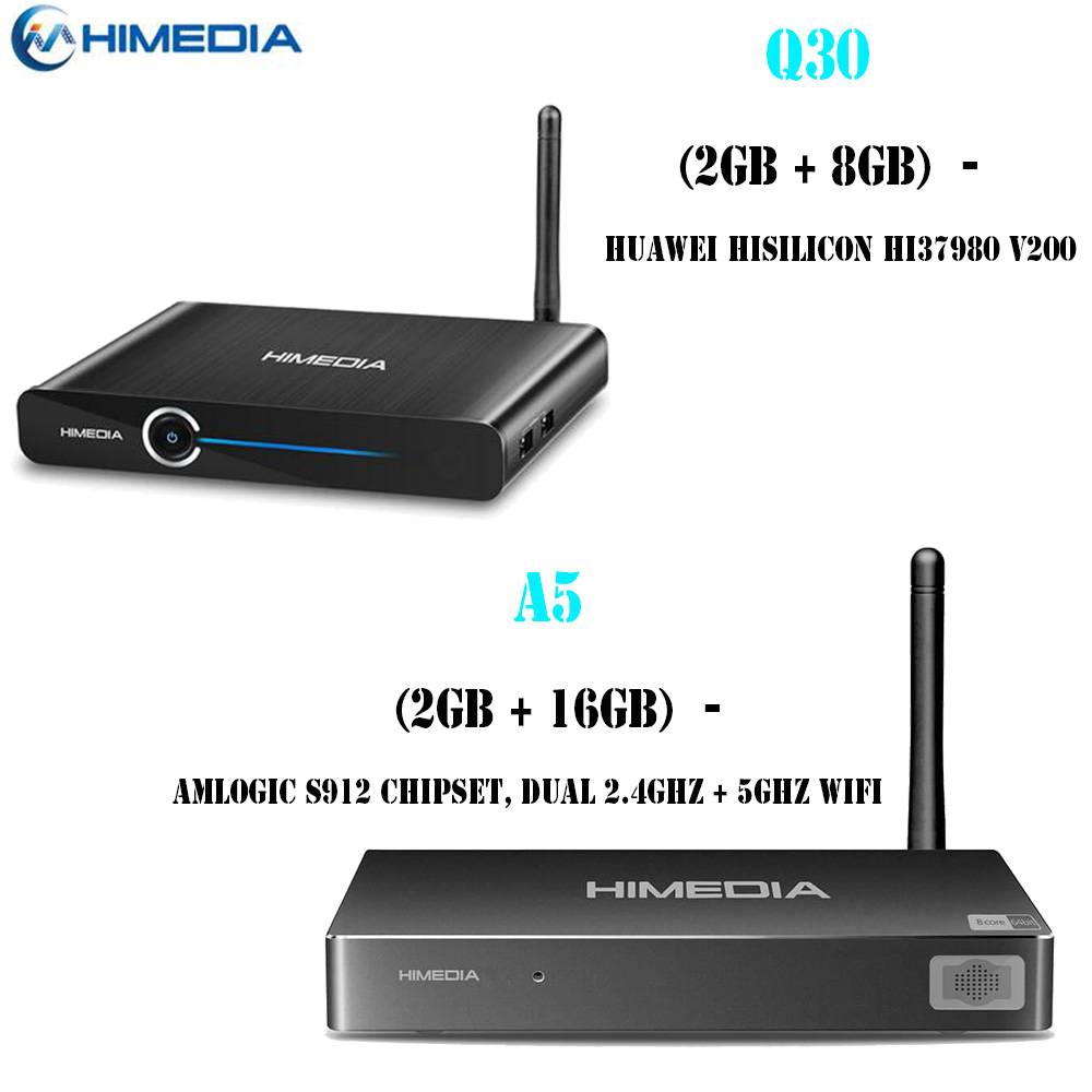 Himedia Q30 Hisilicon HI37980 V200 Quad Core 2G 8G Akıllı Android 7.0 TV Box & Himedia A5 2 GB 16 GB Media Player H.265 Set-Top Box